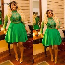 short emerald green prom dresses with lace long sleeves plus