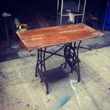 reclaimed vintage wood white usa sewing machine base industrial