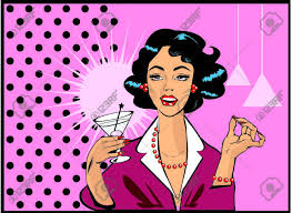 pink martini clip art woman drinking martini or cocktail retro vintage clipart stock