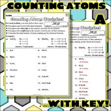 Counting Atoms Worksheet 1 Worksheet Counting Atoms Version A By Travis Terry Tpt