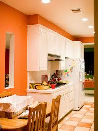 kitchen kitchen fresh orange wall color with recessed lights and