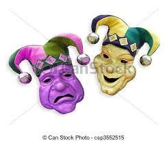 mardi gras joker mardi gras comedy tragedy masks with jester hats on white stock