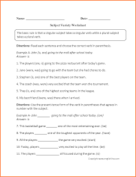 Grade 7 Worksheets 7 Subject Verb Agreement Worksheets For Grade 6 Purchase