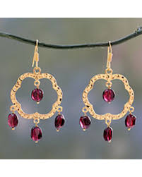 Garnet Chandelier Earrings Amazing Deal On Gold Vermeil Garnet Chandelier Earrings Blossom