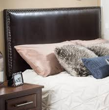 brown leather headboard king size home design ideas