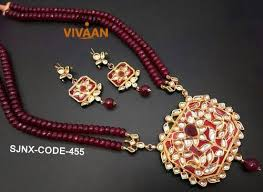 pearls necklace set jewellery images Traditional kundan set with red pearl necklace set designer jpg
