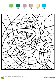 coloriage magique additions tyranosaure rex color by number for