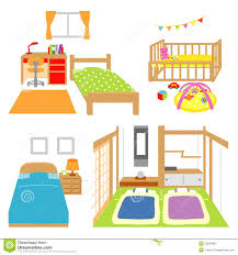 bedroom childs room crib japanese style room stock vector
