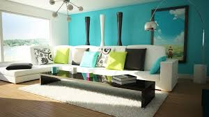 bright color living room art painting round end table aqua accent