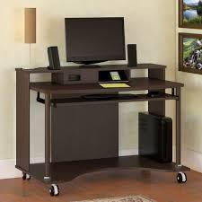 Bush Computer Desks Tremendous Rectangle Chocolate Oak Wood Mobile Computer Desk