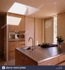 Kitchen Island Worktops by Stainless Steel Worktop On Island Unit In Modern Open Plan Kitchen