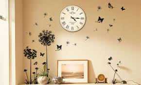 wall stickers and clock mural groupon goods butterflies vine stickers and rome clock wall mural