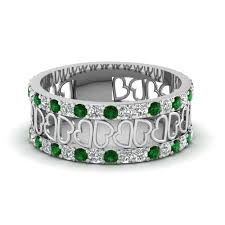 unique wedding bands for women open heart diamond wide band for women emerald in 14k white gold