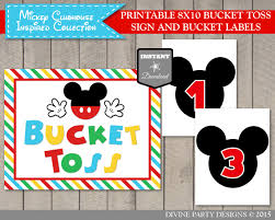 instant download mickey clubhouse inspired bucket toss sign and