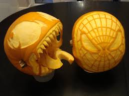 decorating ideas marvelous unique shape head spiderman pumpkin