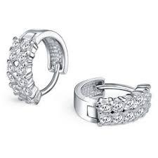 silver diamond earrings h a swiss diamond hoop earrings in 925 sterling silver