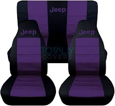 jeep purple jeep wrangler yj tj jk 1987 2017 2 tone seat covers w logo front