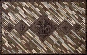 X Landmark Metalcoat Studded Fleur Mosaic Tile Backsplash - Medallion tile backsplash