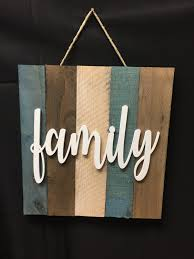 family word script sign painted wood wall hanging pallet wood