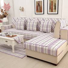 sofa canapé style purple plaid cotton linen sofa cover lace decor