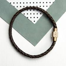 gold clasp leather bracelet images Personalised men s woven leather bracelet with gold clasp jpg