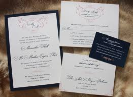 wedding invitations navy blush pink navy blue vintage scroll monogram wedding invitations