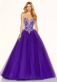 ball gown plunging neckline corset back purple tulle beaded prom dress