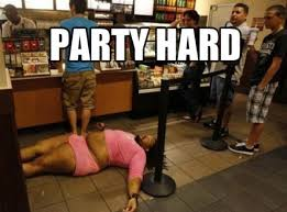 Party Hard Meme - fat man passed out after party hard funny meme picture