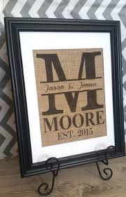 monogrammed wedding gifts personalized burlap print gift for couples monogram with last