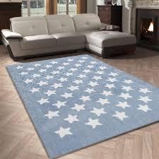 tapis pour chambre de bébé tapis salon 120x170cm etoile chambre vintage en acrylique blue