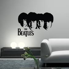 popular guitar wall decal buy cheap guitar wall decal lots from the beatles vinyl wall decals wall art guitar silhouette heads john lennon paul vintage poster wall
