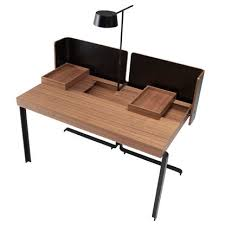 bureau en ligne walnut desk steel contemporary commercial split by meike