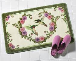 Pink Bathroom Rugs by Amazon Com Hummingbird Floral Skid Resistant Bath Accent Rug
