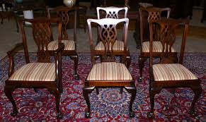 Set Of Six Period Solid Mahogany Chippendale Dining Room Chairs - Mahogany dining room sets