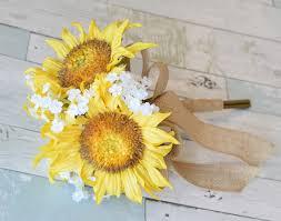 sunflower bouquet day silk wedding yellow sunflower bouquet with your choice