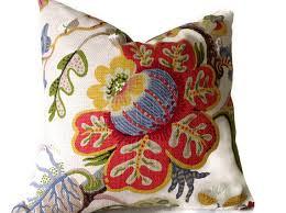 Lumbar Decorative Pillows Floral Pillow Kravet Pillow Red Green Yellow Blue Tan Pillow
