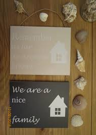 double wooden hanging home family sign decor plaque shabby chic