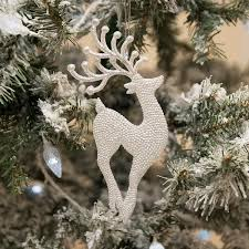 Reindeer Decoration Gisela Graham Pale Silver Glitter Reindeer Decoration Temptation