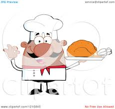 clipart of a cartoon happy black chef with a mustache holding a