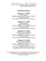 wedding packages prices andrew buckley photography prices