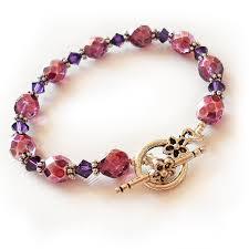 glass beads bracelet images Pink and purple swarovski glass beads bracelet shop jpg