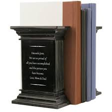 engraved bookends black marble column bookends