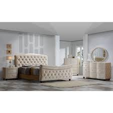 Velvet Sleigh Bed Golden Beige Velvet Tufted Sleigh Bed Free Shipping