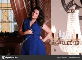 lady rich woman a beautiful interior brunette in a penthouse