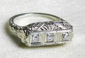 antique engagement ring 18 k 1920s old cut diamond orange blossom