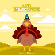 flat thanksgiving design with turkey vector free