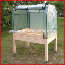 garden raised tables with mini greenhouse balcony vegetable