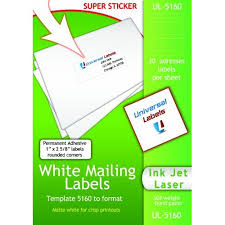 Mailing Label Templates 30 Per Sheet Avery Label 5160 Word Template