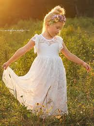 flower girl dress ivory lace boho flower girl dress country couture company