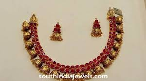 ethnic gold necklace images Antique ruby jhumka necklace south india jewels jpg